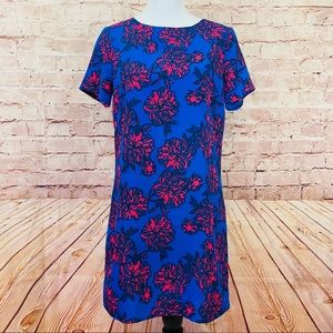 J.Crew blue pink floral gallery dress